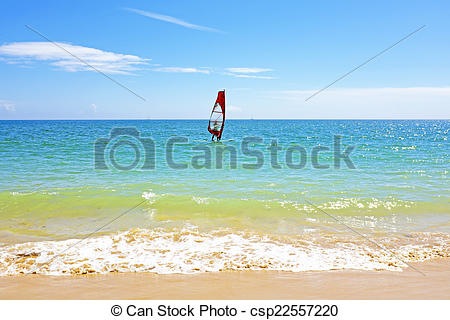 Clip Art of Surfer at the ocean in the Algarve Portugal.