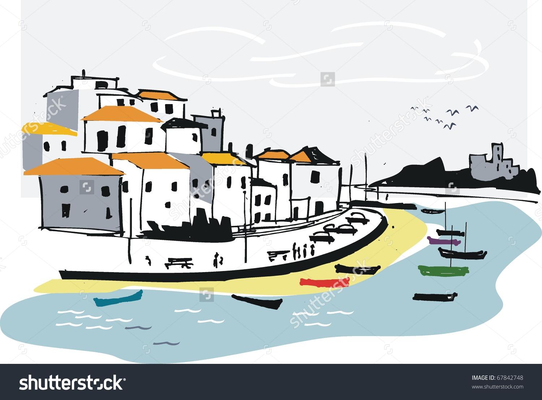 Vector Illustration Algarve Fishing Village Portugal Stock Vector.