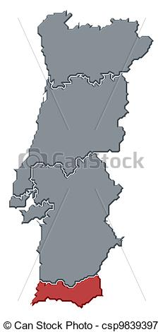 Stock Illustrations of Map of Portugal, Algarve highlighted.