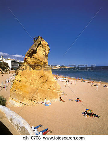 Pictures of Albufeira Beach rock formation, Algarve, Portugal.