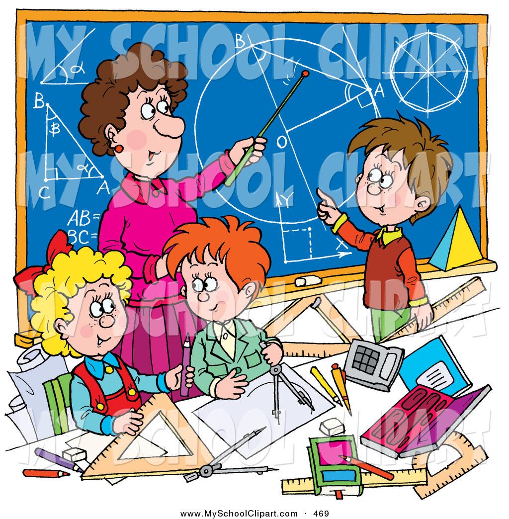Clip Art of a Female Math Teacher Teaching School Students.