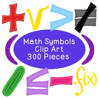 Math Algebra Clip Art Bundle Symbols PNG JPG Blackline Commercial or  Personal.
