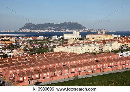 Stock Images of Spanish town Algeciras and Gibraltar in the.
