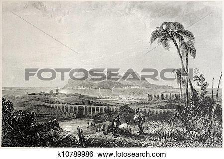 Stock Illustration of Gibraltar from Algeciras k10789986.