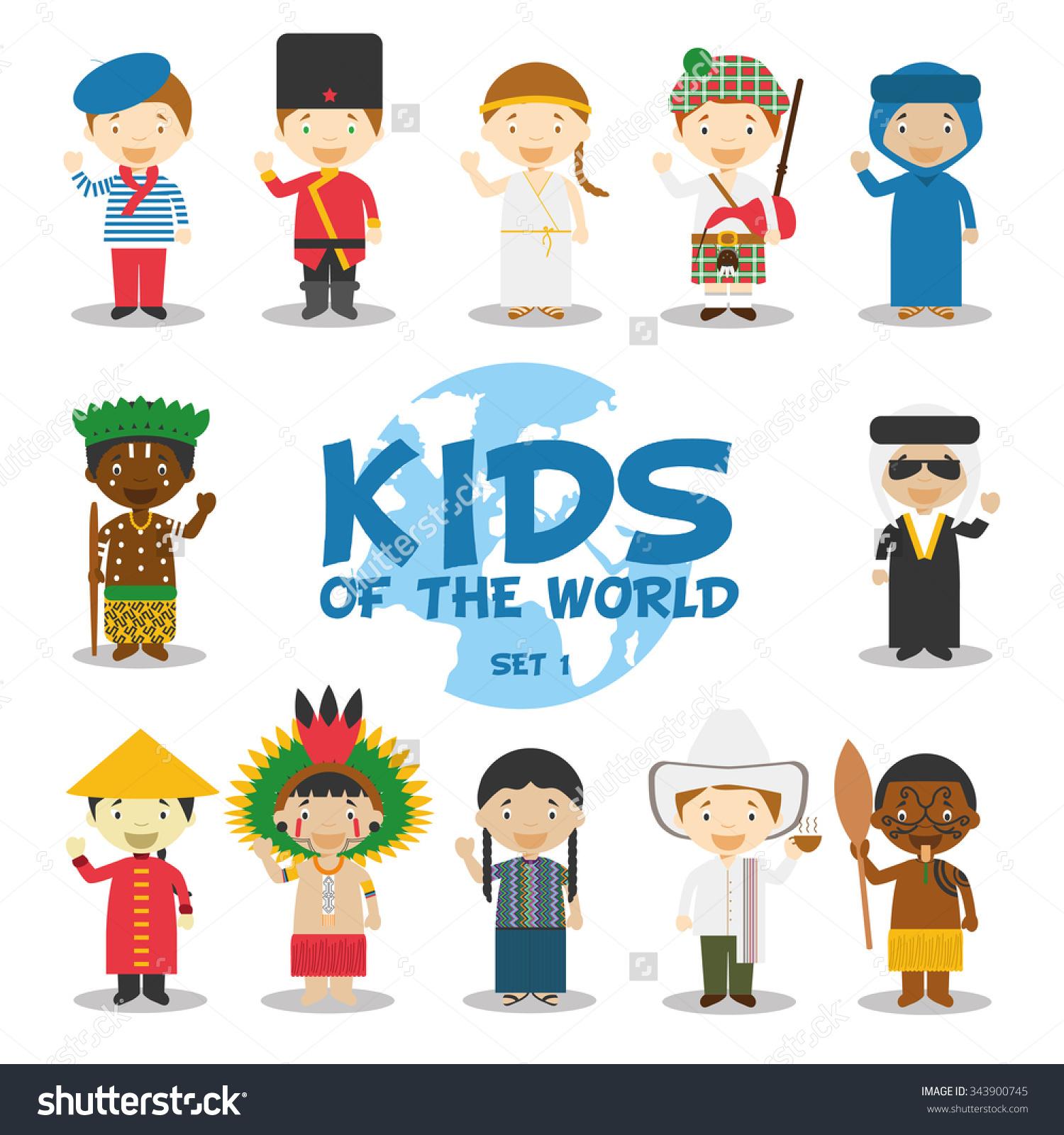 Kids World Vector Illustration Nationalities Set Stock Vector.