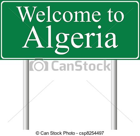 Vectors Illustration of Welcome to Algeria, concept road sign.