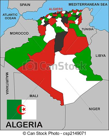 Clipart of Algeria Political Map.