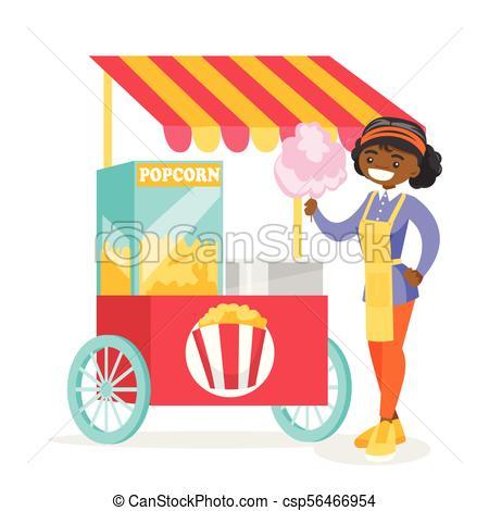 Venta, candy., joven, vendedor, calle, africano, algodón.