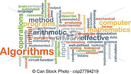 Clipart of Algorithms background concept.