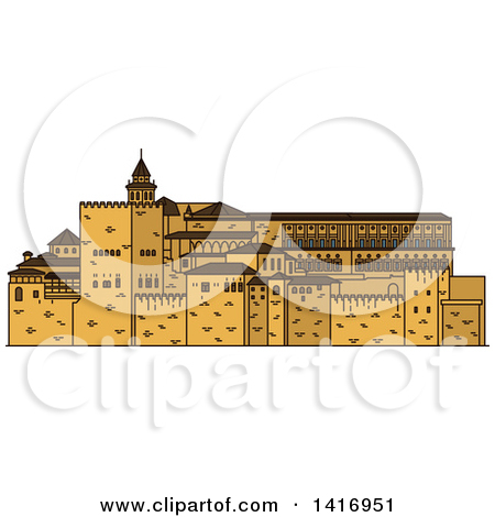 Clipart of a Sketched Spain Landmark, Alhambra.