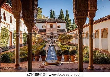 Stock Photo of Patio de la Acequia courtyard of irrigation ditch.