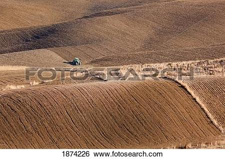 Stock Images of malaga, spain; green tractor ploughing fields near.