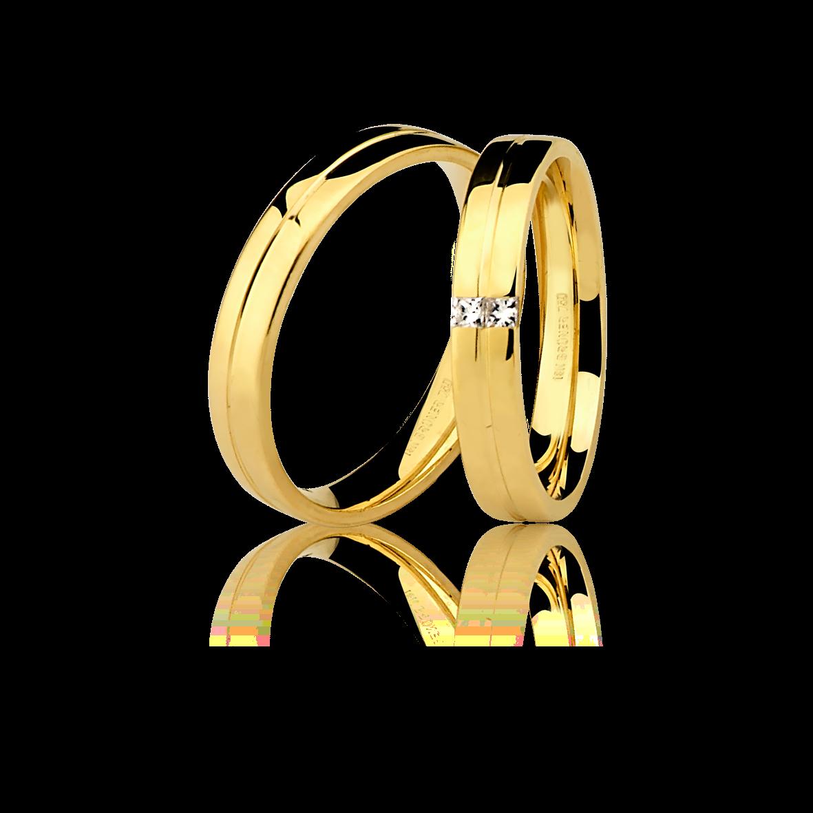 Aliança em Ouro 18k sem Diamante.