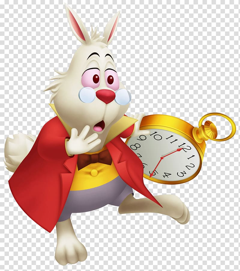 Of bunny wearing eyeglasses holding pocket watch, Alice\'s.