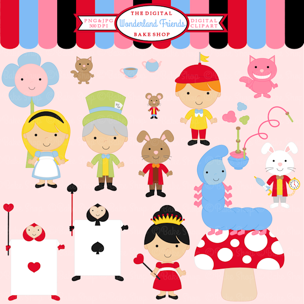 Wonderland Friends Clipart.