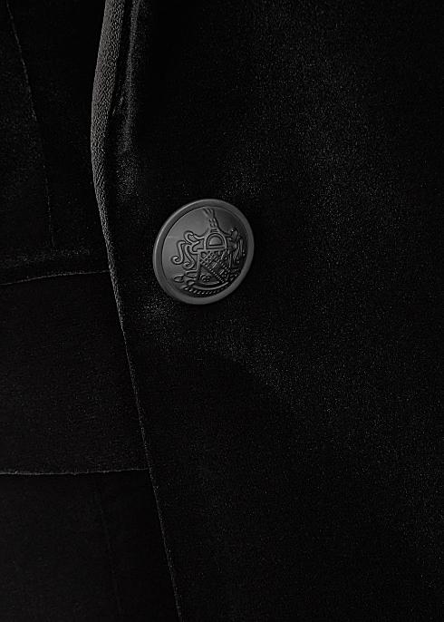 Alice + Olivia Macey black velvet blazer.