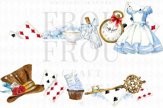Alice in Wonderland Clipart Alice Clip Art Watercolor Alice.