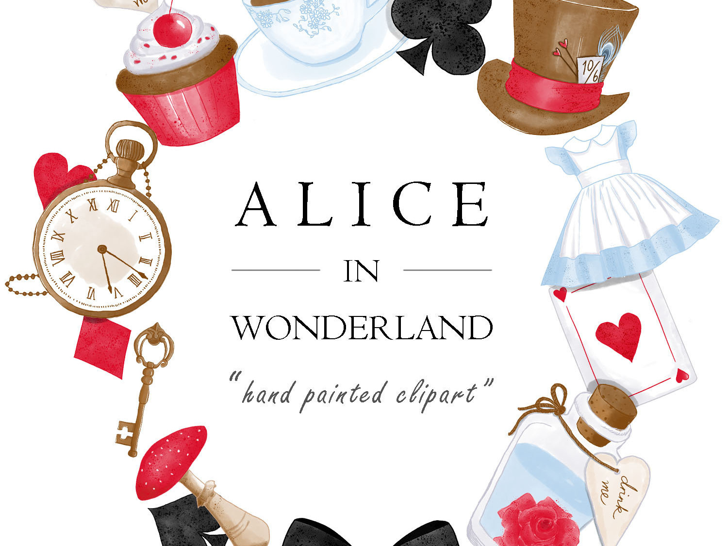 Watercolor Alice In Wonderland Clipart Set by turnip on Dribbble.