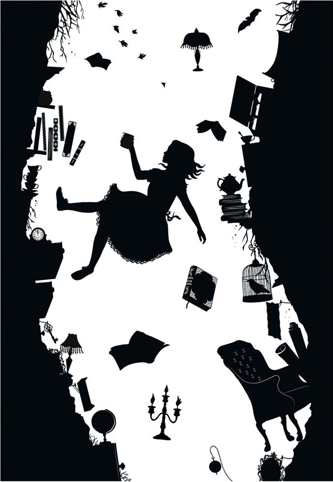 Alice Falling Down The Rabbit Hole Silhouette.
