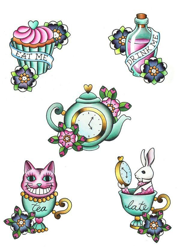 Alice in wonderland tattoos. by crixty.