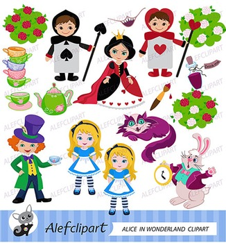 Alice Wonderland Digital Clipart, Alice in Wonderland Clipart.