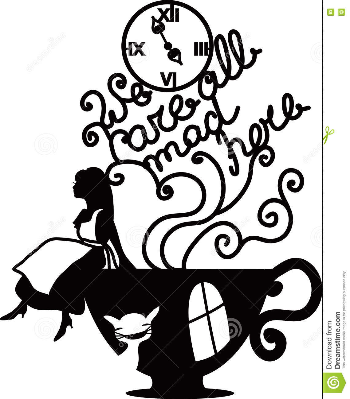 Alice in wonderland clipart black and white 1 » Clipart Station.