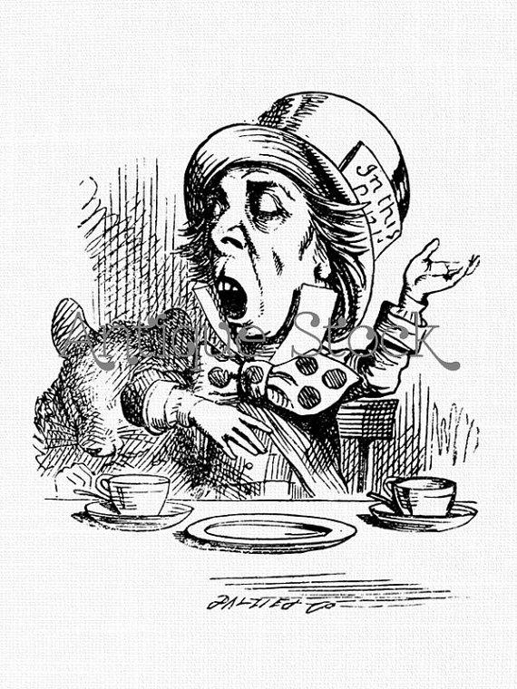 Mad Hatter Vintage Clip Art Alice in Wonderland Line Art.