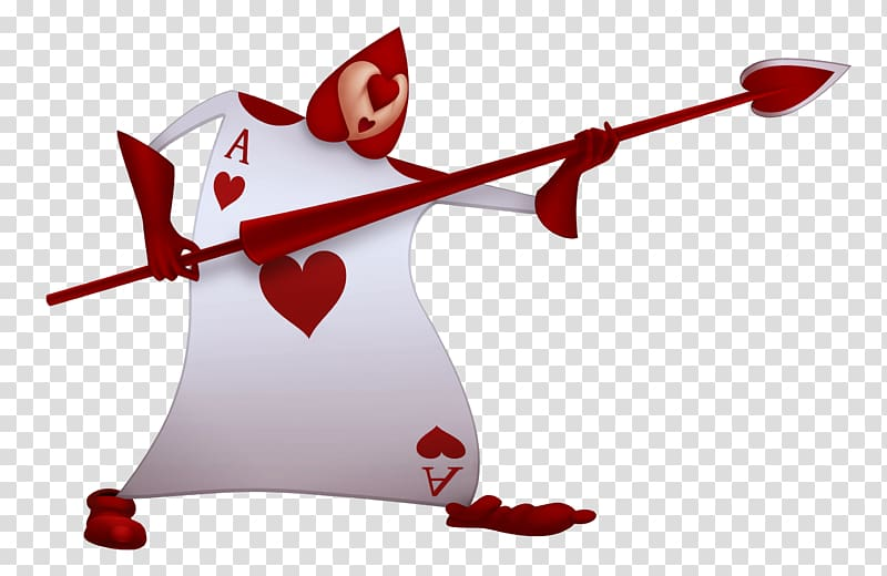 Ace of heart holding red spear graphic art, Alice\\\'s.