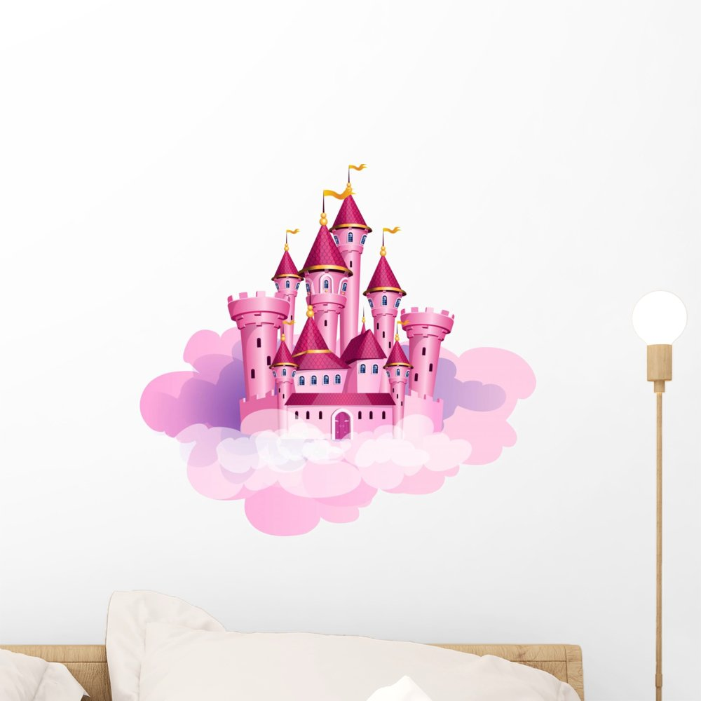 Wallmonkeys Pink Princess Castle Wall Decal Peel And.