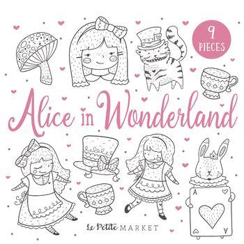 Alice in Wonderland Clip Art, Tea Party Digital Stamps.