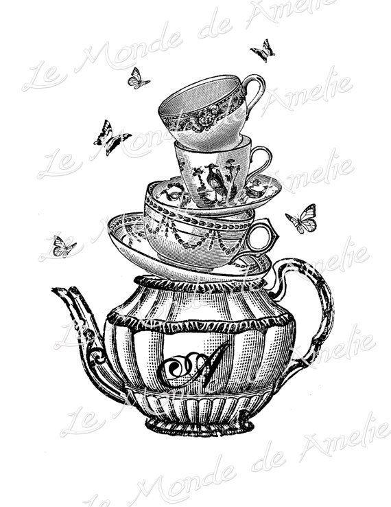 Alice In Wonderland Tea Cup Clipart.