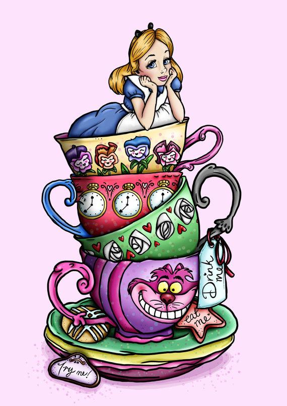 Alice In Wonderland Tea Cups Clipart.