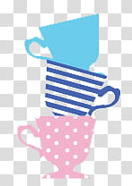 Alice In Wonderland Cute, tea cups illustrations transparent.