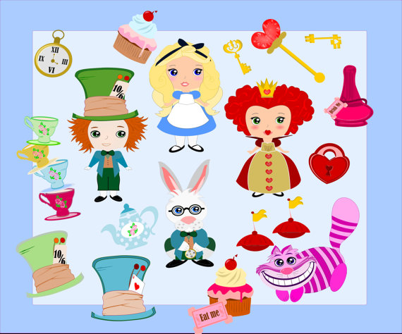 Alice In Wonderland Characters Clipart.