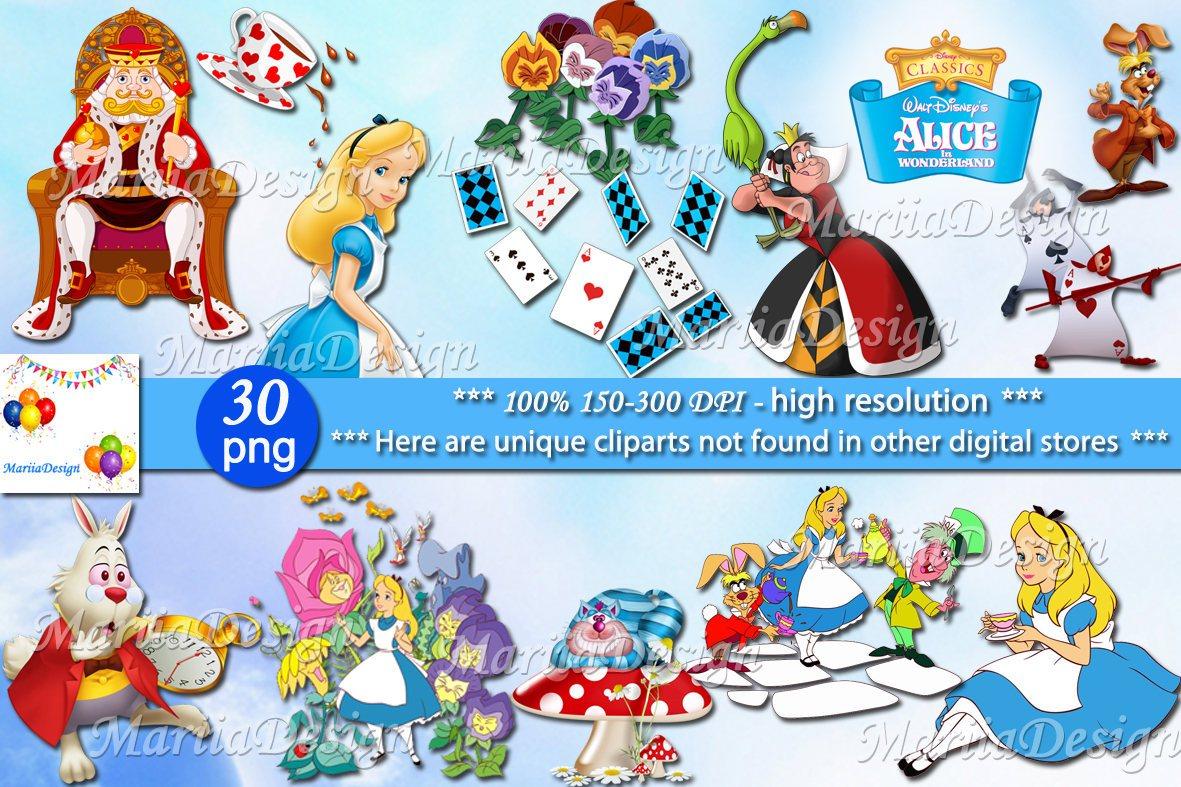 Alice in wonderland Clipart, 30 PNG.