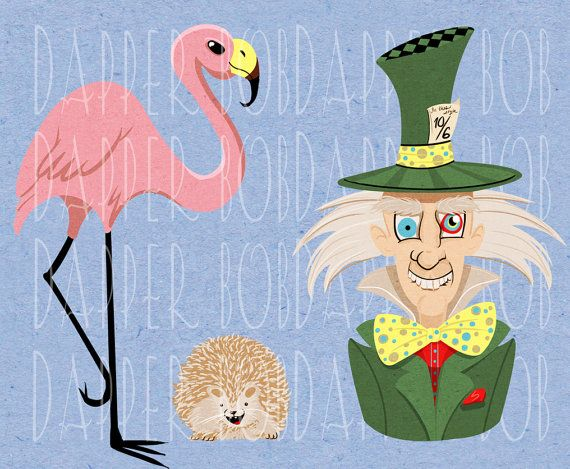 Alice in Wonderland Characters, the Mad Hatter Flamingo and.