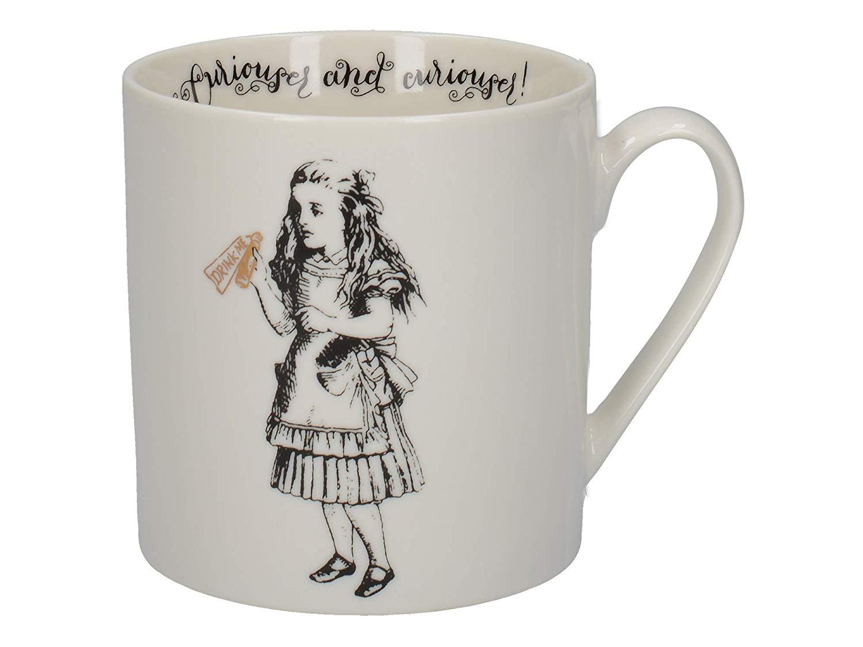 V&A Alice in Wonderland Mug in Gift Box, \'Alice\' Design, Fine China, White,  350 ml.