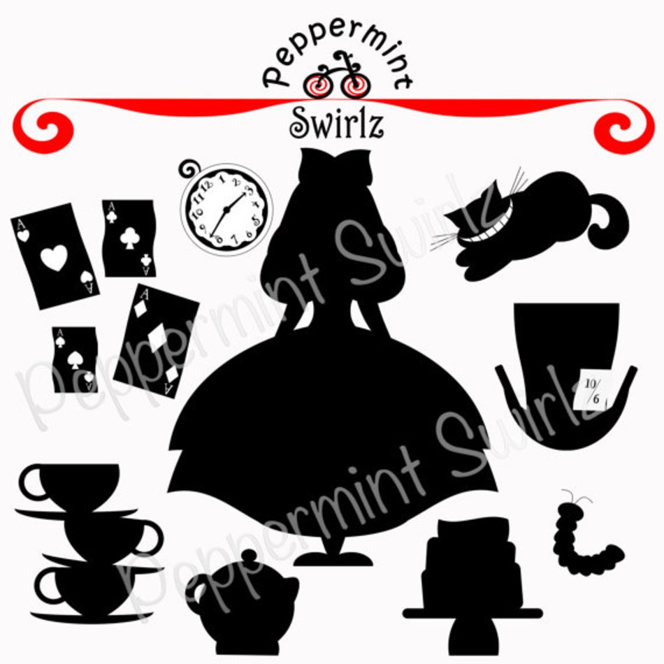 Alice In Wonderland Silhouette Clip Art free image.