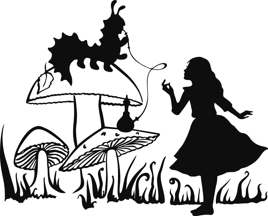 Alice\'s Adventures in Wonderland Caterpillar Cheshire Cat.