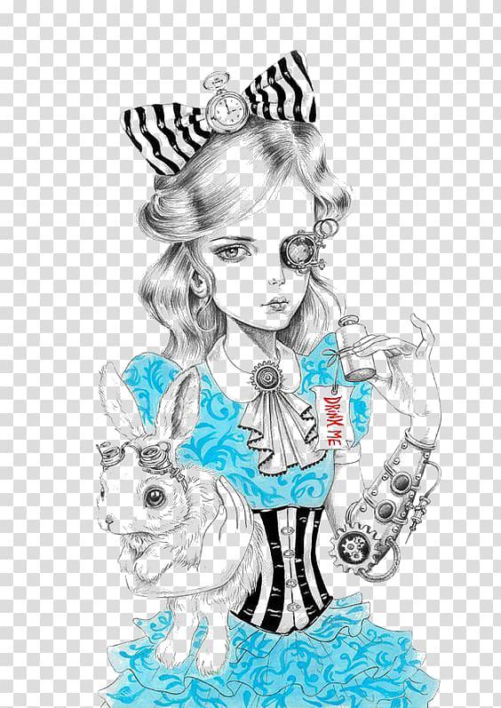 Alice White Rabbit Drawing Steampunk Cheshire Cat, princess.