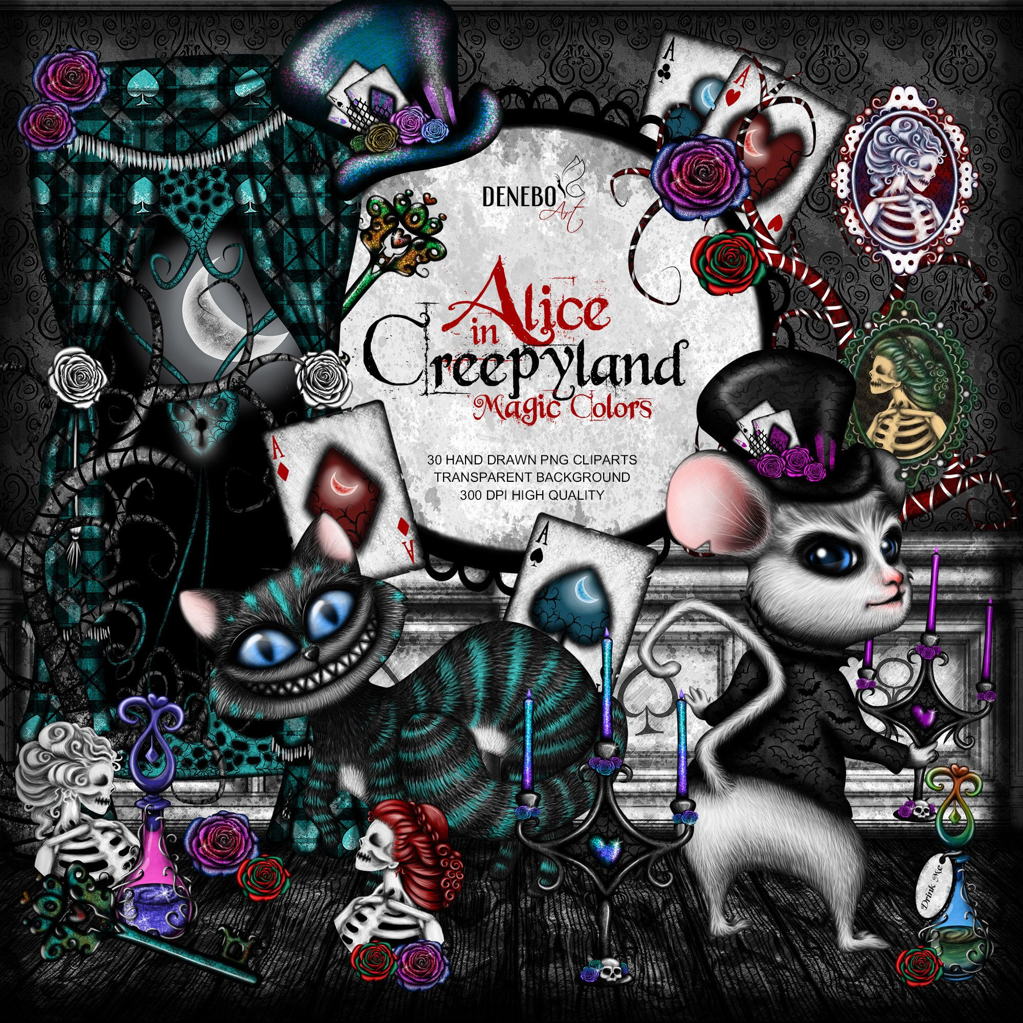 Cheshire Cat clipart Mad Hatter clipart Alice in Wonderland.