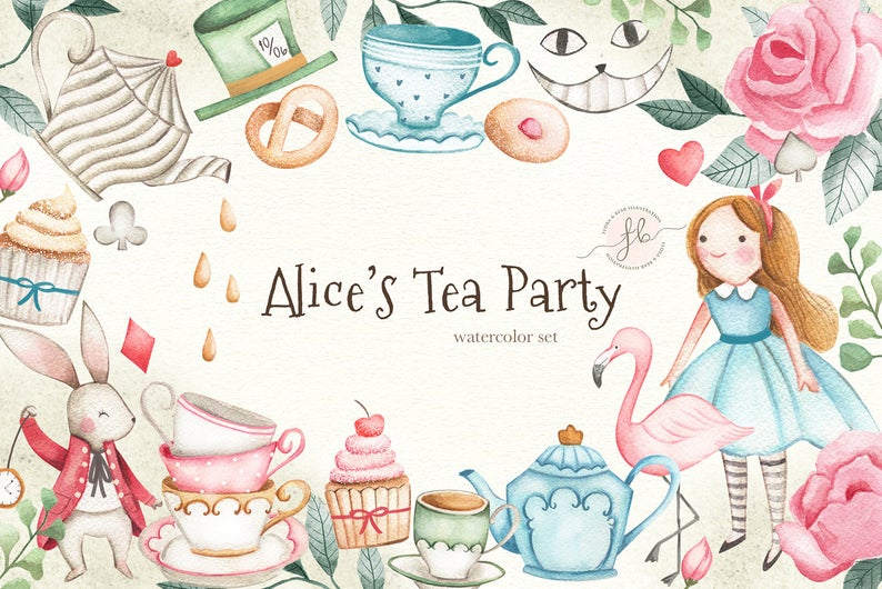Alice In Wonderland Tea Party Watercolor Clipart.