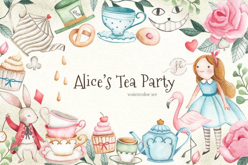 Alice In Wonderland Tea Party Watercolor Clipart.