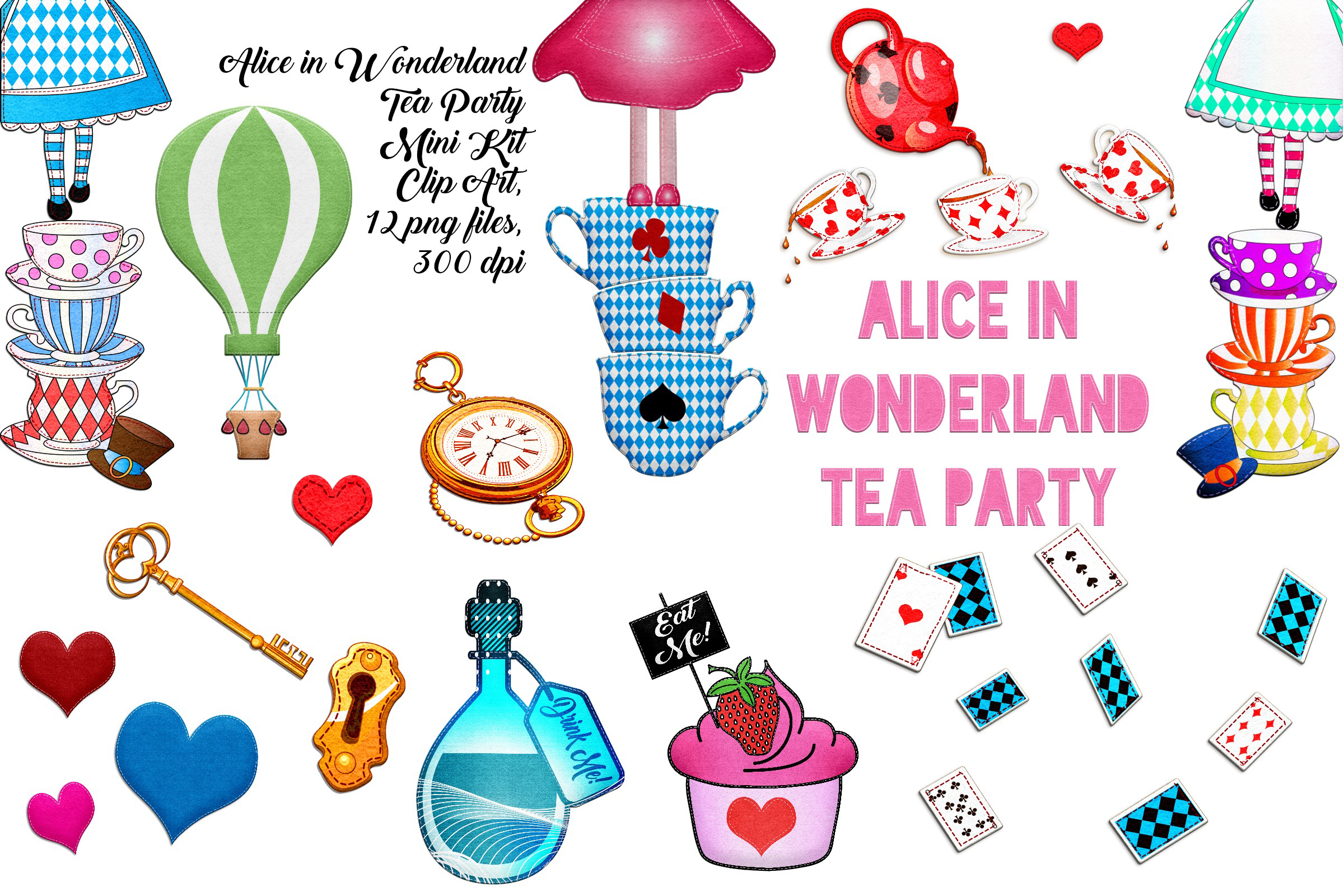 Alice in Wonderland Tea Party Mini Kit Felted Clip Art.