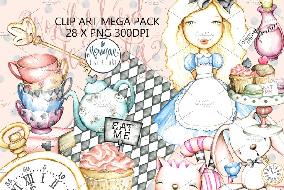 Tea Party Clipart Watercolor.