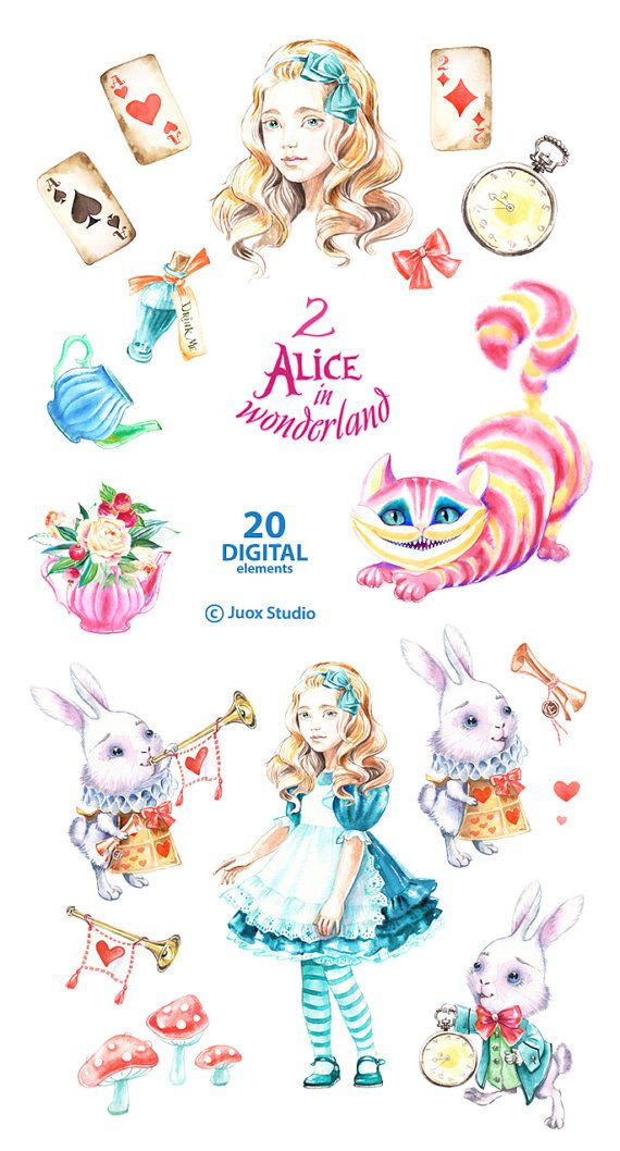 Alice in Wonderland 2 Watercolor Clipart Cheshire cat.