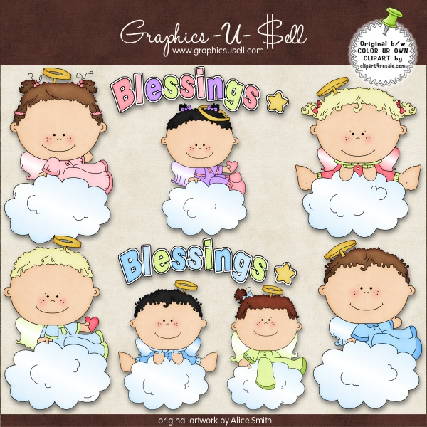 Baby Angel Blessings 1 Whimsical Clip Art By Alice Smith.