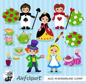 Alice Wonderland Digital Clipart, Alice in Wonderland.