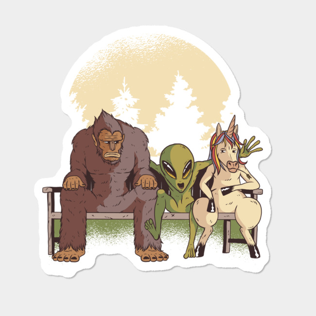 Bigfoot, Alien, Unicorn Trend Sticker By NivoTee Design By Humans.