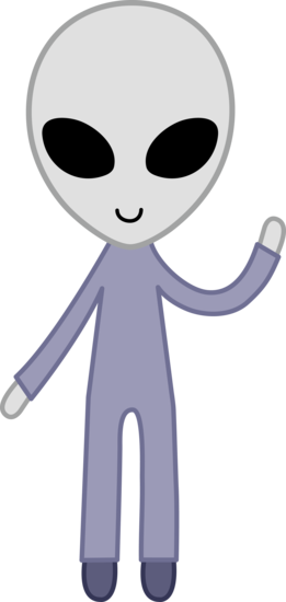 Free clip art of a cute friendly gray space alien.